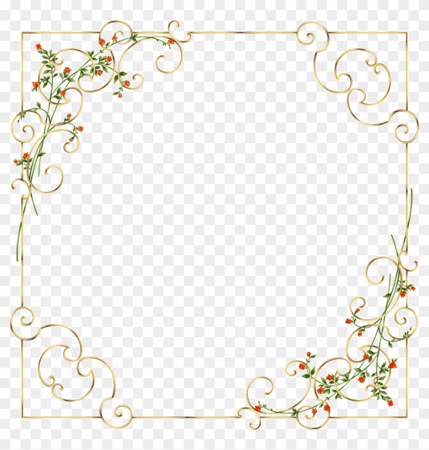 Gold Frame With Delicate Wild Flowers - Golden Floral Border Png Clipart #788259