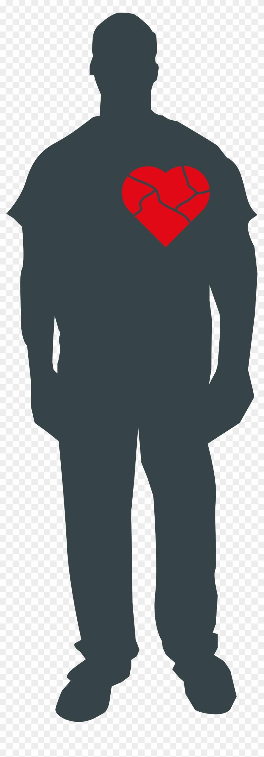 Broken Heart Clipart Outline - Person With Broken Heart - Png Download #798821