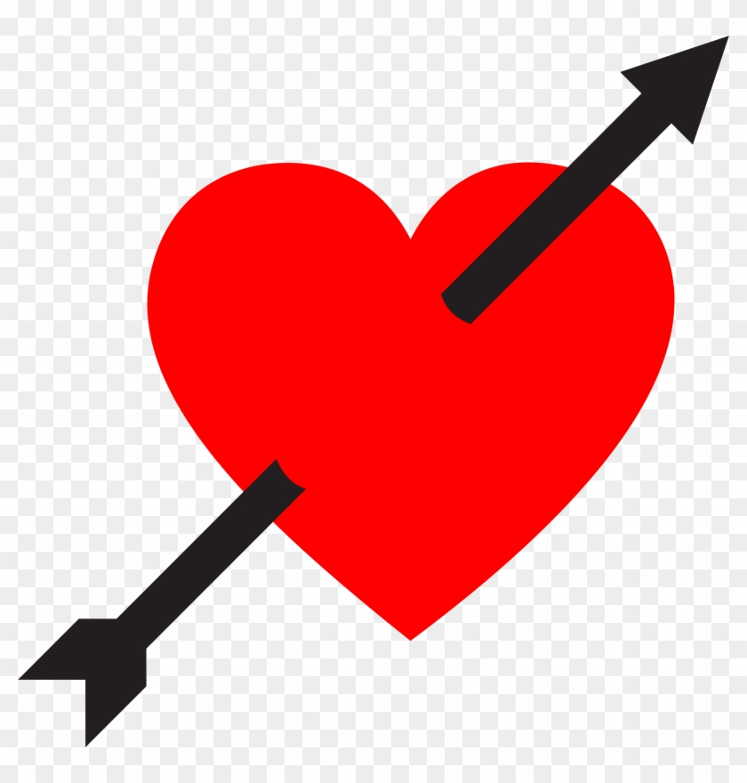 Heart With Arrow - Heart And Arrow Sticker Clipart #85703