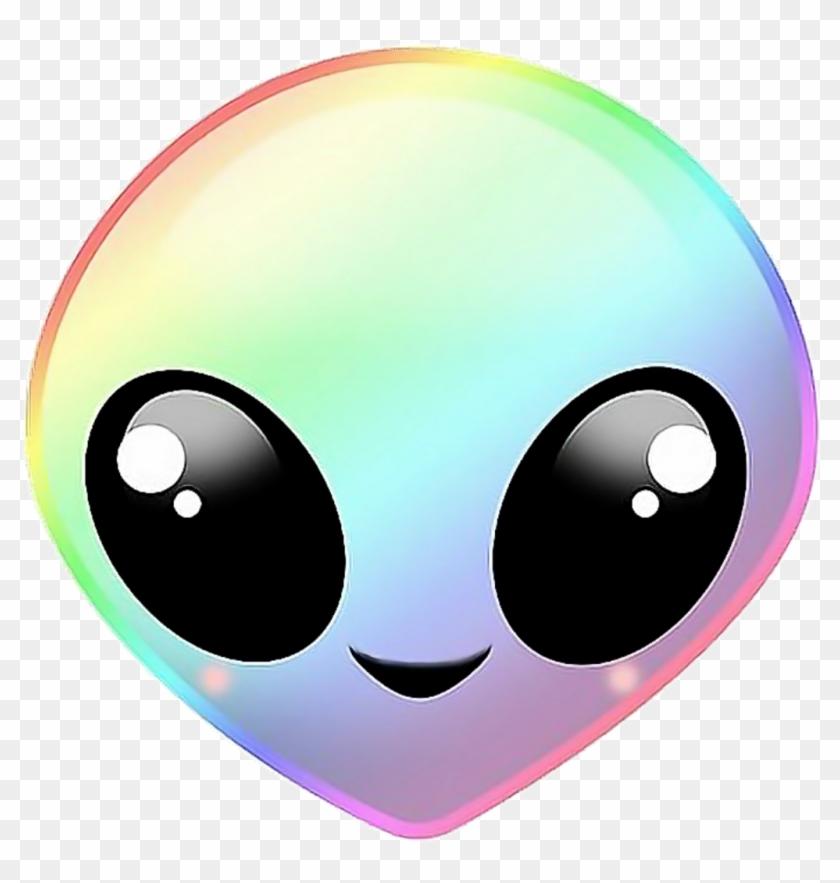 Alien Extraterrestre Rainbow Arcenciel Emoji Alien Kawaii Clipart 803820 Pikpng