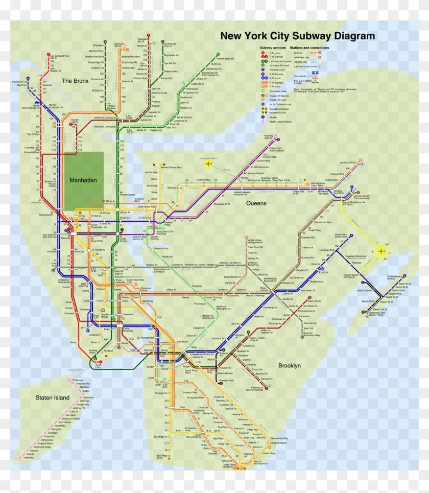 Nyc Subway 4b Shrunk - New York Subway Map Clipart #806253
