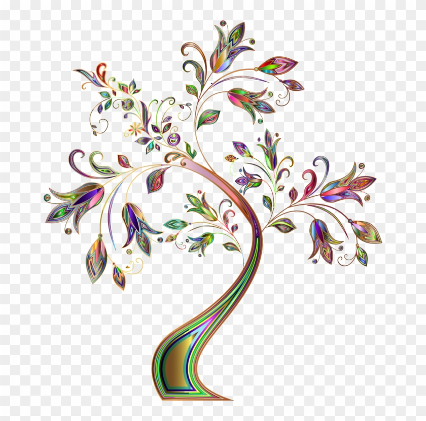 Floral Design Borders And Frames Flower - Flower With Tree Drawing Clipart #826306