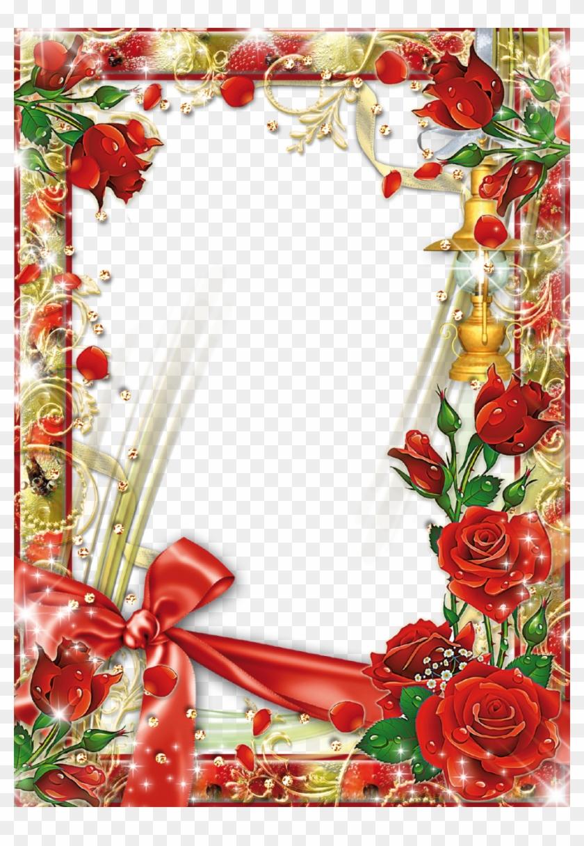 Red Flower Frame Transparent Background - Best Happy Birthday Frames Clipart #826542
