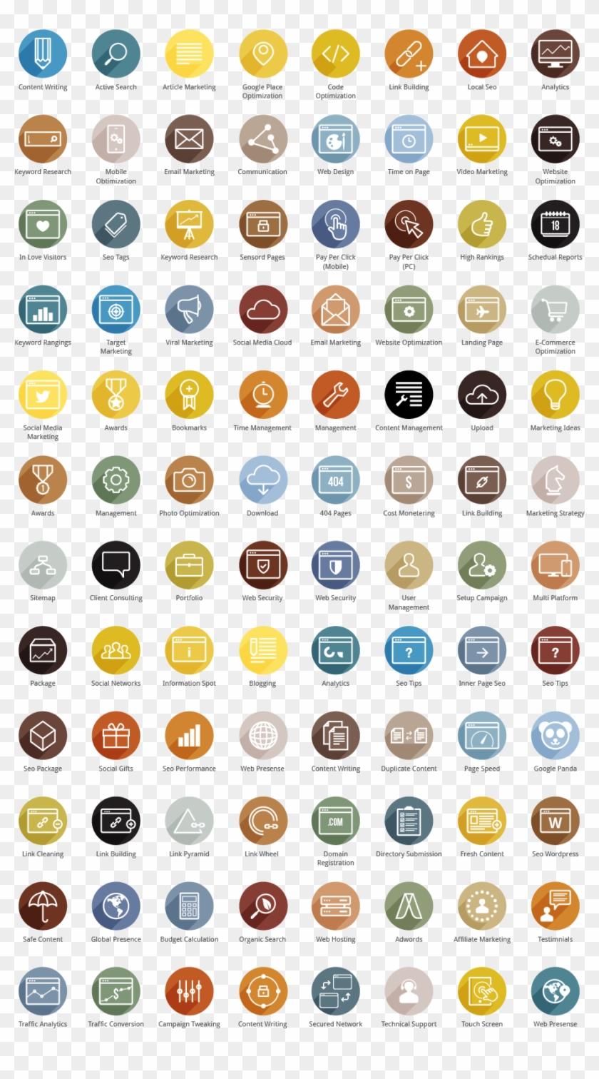 Seo Colored Icons Web Design Icon, App Ui Design, Free - Best Cmyk Colors Clipart #827251