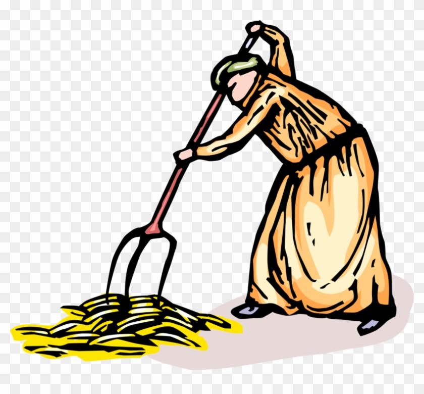 Vector Illustration Of Farmer Gathers Wheat Grain Harvest - Illustration Clipart #831473