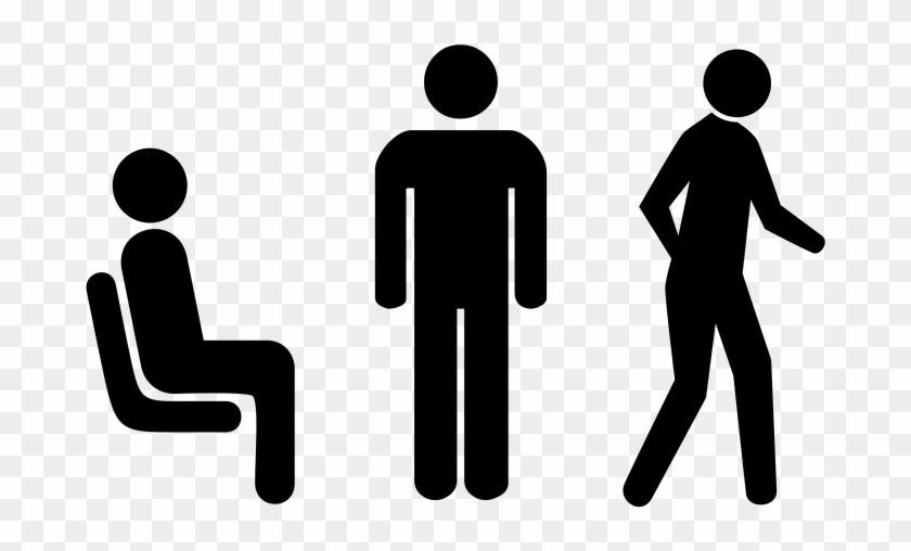 Sitting Versus Standing Versus Walking - Standing Vs Sitting Clipart - Png Download #857250