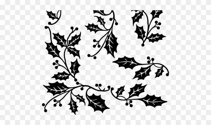 Drawn Branch Leaf Border Png - Holly Border Clipart Black And White Transparent Png@pikpng.com