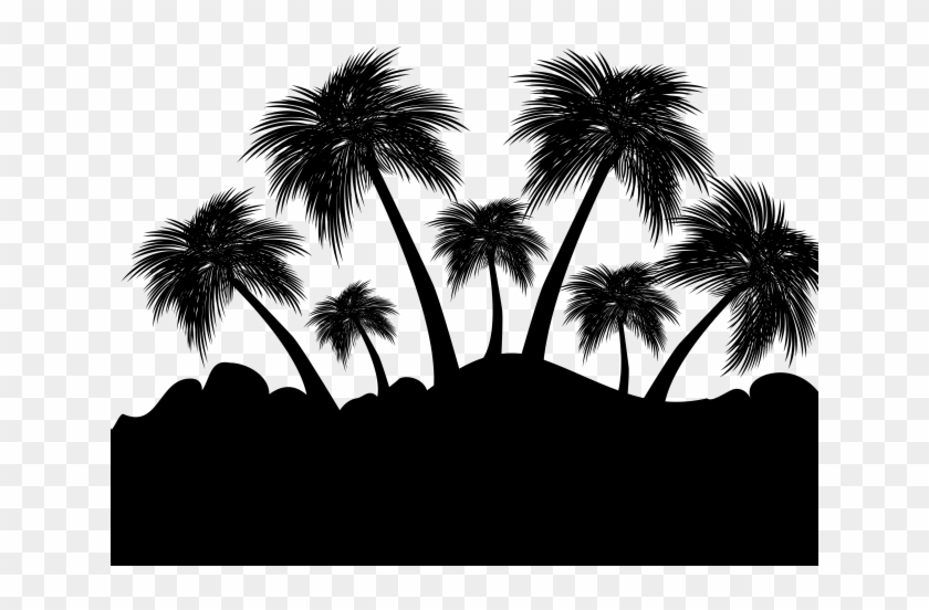 Floating Island Clipart Drawing - Palm Tree Silhouette Island - Png Download #865838