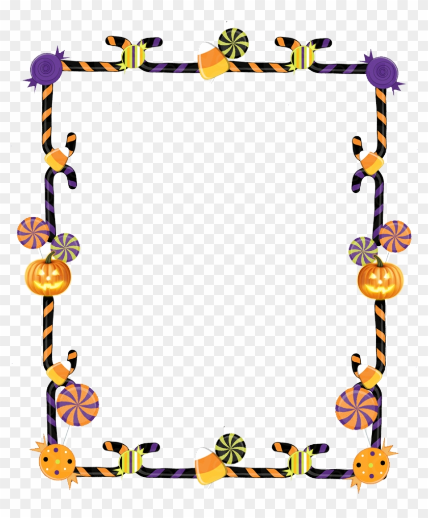 Clipart Black And White Download Of Halloween Borders - Halloween Candy Frame Clip Art - Png Download #867461