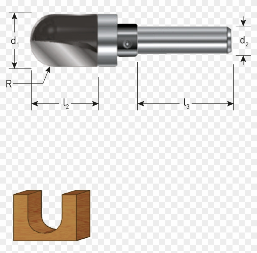 Tct Round Nose Grooving Cutters, Guide Bearing, Gold-line - Gun Barrel Clipart #870274