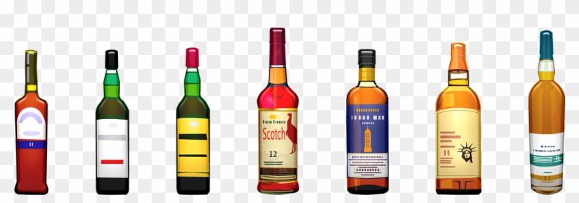 Alcohol Bottles Whiskey Wine Scotch Glass Drink - Бутылки С Алкоголем Png Clipart #910408