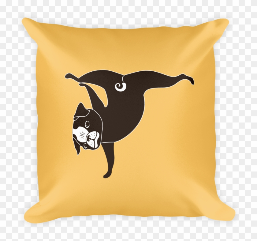 Yoga Pug Paw Stand Square Pillow In Apricot Yellow - Cushion Clipart #924855
