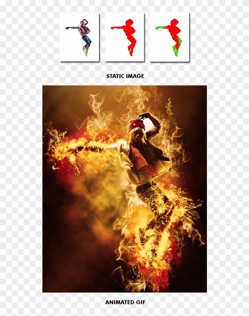 Gif Animated Fire Photoshop Action By Smartestmind - Design Clipart #926248