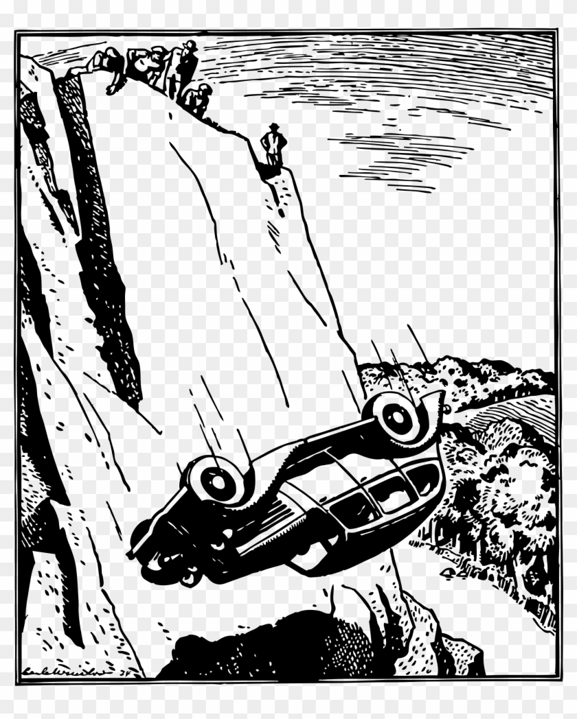 Clipart Transparent Cliff Clipart Black And White - Car Flipped Over Cartoon - Png Download@pikpng.com