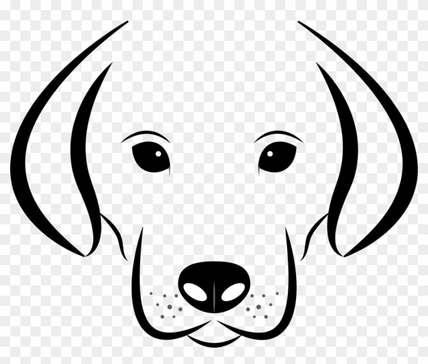 Dog, Vector, Head, White, Background, Labrador, Animal - Black And White Cartoon Dog Face Clipart@pikpng.com